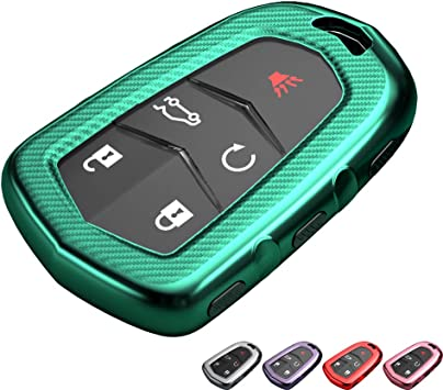 Pink TG Auto Luxury Key Fob Cover for Cadillac Carbon Fiber Pattern Glossy TPU Key Case With Keychain Fits for Cadillac Escalade XT4 XT5 SRX CTS CT-6 ATS 3 4 5 6 Button Keyless Smart Key