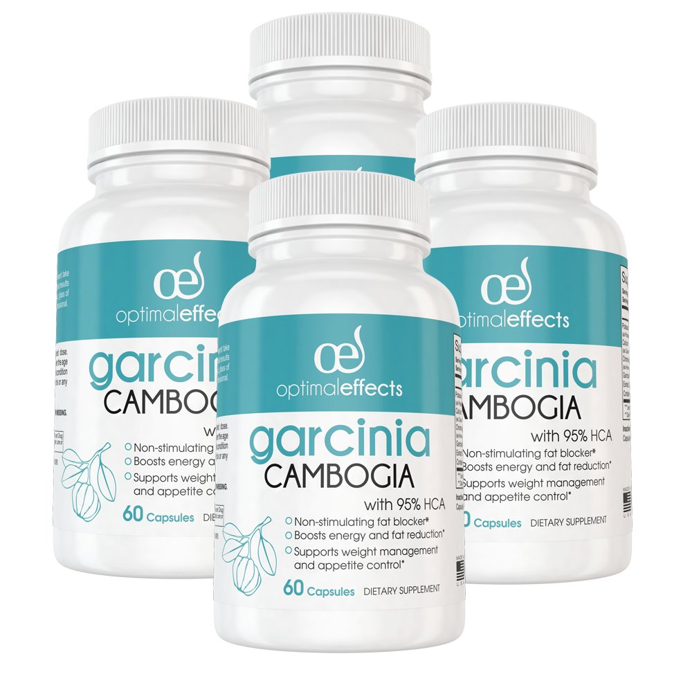 95% HCA Pure Garcinia Cambogia Extract by Optimal Effects - Extreme Carb Blocker with Fast Acting Appetite Suppression & Fat Burner Supplement - 60 Veggie Capsules (4)