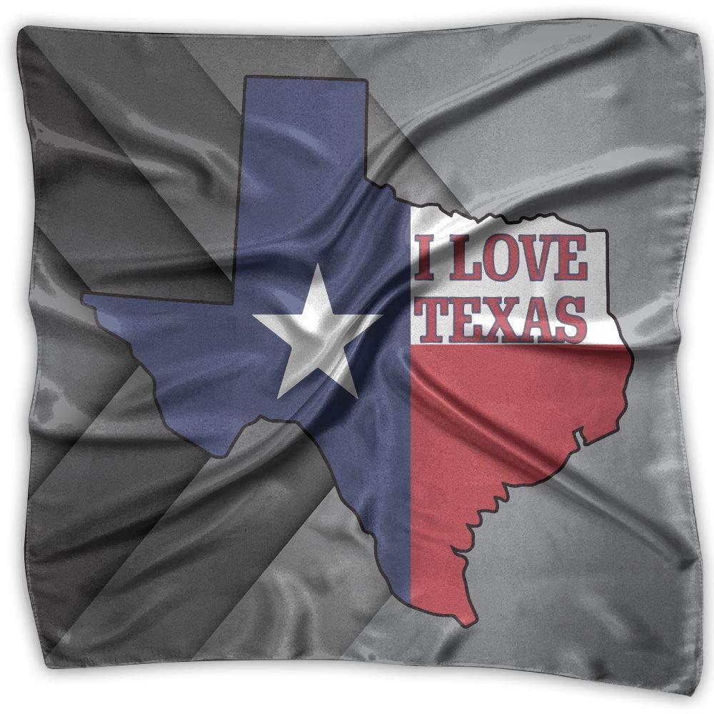 I Love Texas Texan Flag Unisex Silky Scarf Scarf Shawl Bandana Wrap Scarf