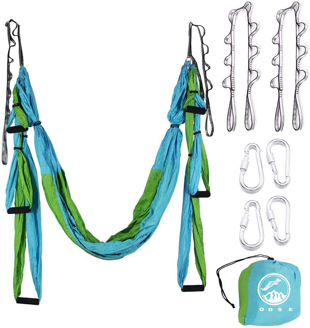 ODSE Aerial Yoga Swing – Ultra Strong Antigravity Yoga Hammock Sling Inversion Tool for Air Yoga Inversion Exercises – 2 Extensions Straps Included Blue Green