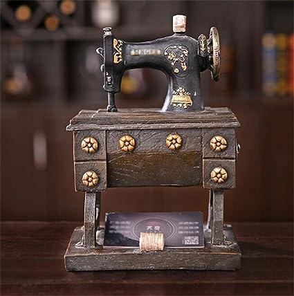 Longless País americano retro antigua máquina de coser hucha ornamentos decoración suave inicio ventana sala modelo