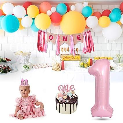 1th Birthday Decorations Hamkaw Happy 1st Girl Kit With Glitter Cake Topper