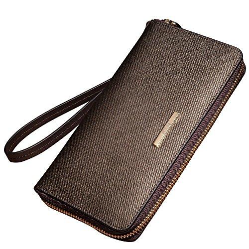 Oneworld Herren Rindleder Clutch Handyetui Universalbörse Geldbörse Börse Geldbeutel Geldtasche Portemonnaie 19.5x10.5x2.5cm(BxHxT) Braun abfalwLlo
