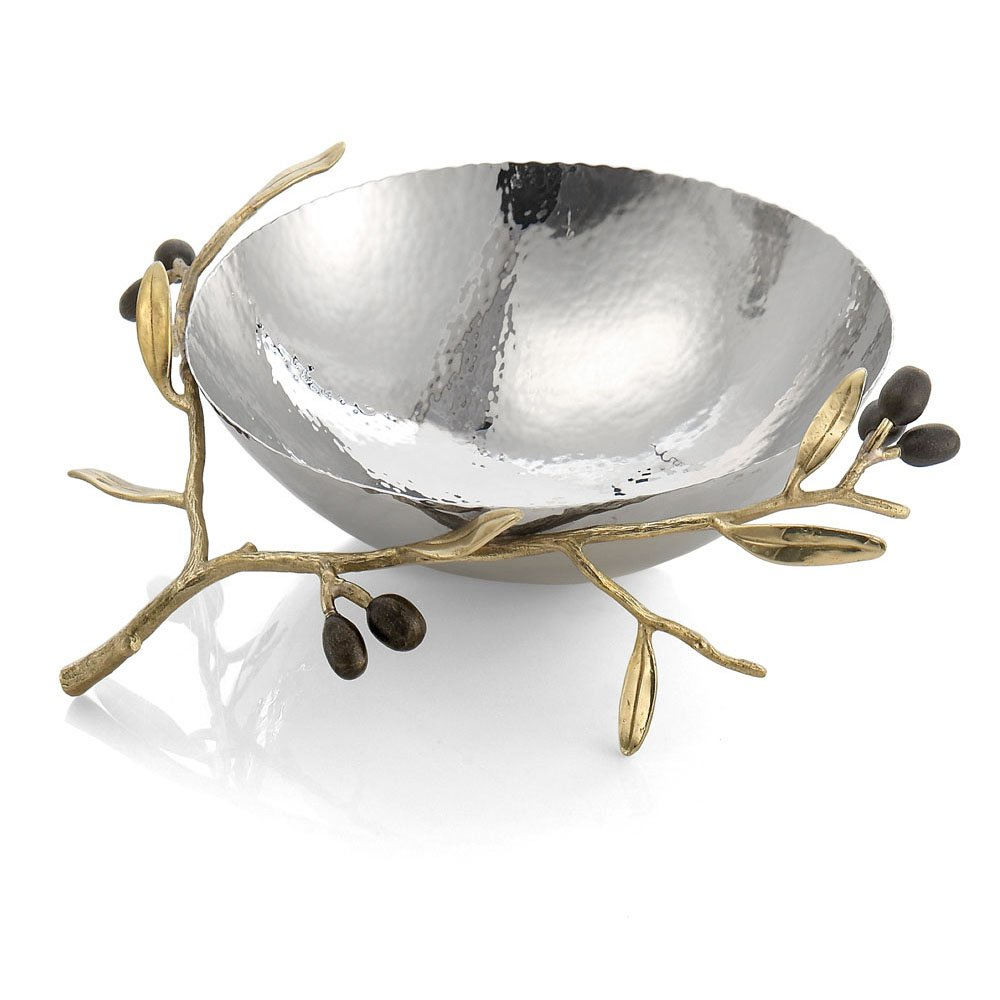 Michael Aram Olive Branch Gold Steel Bowl by Michael Aram