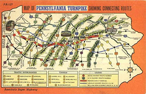 Map Of Pennsylvania Turnpike Showing Connecting Routes Pennsylvania Turnpike Original Vintage Postcard ()
