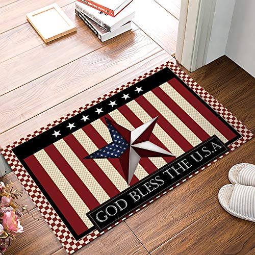Infinidesign Durable Indoor Bathroom Doormat, American Flag USA Decor Low Profile Non Slip Kitchen Bath Rugs for Entry, 18