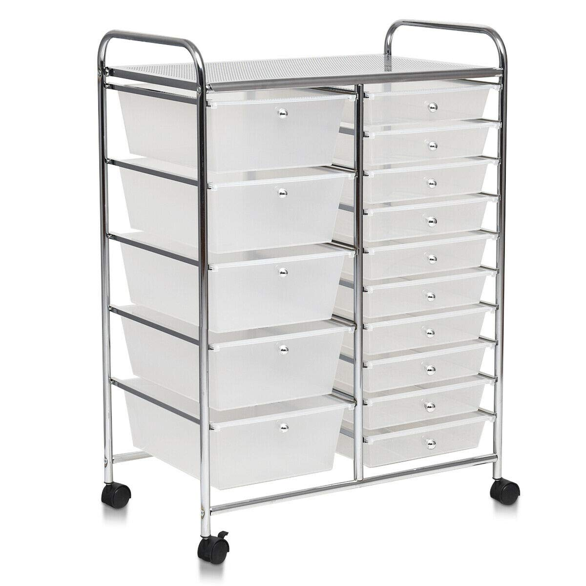Portable 24.5''L Rolling Drawer Cart Storage Utility Shelve Organizer w/ 15Drawers with Ebook