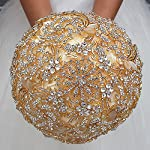 Silk Flower Arrangements DOTKV Wedding Bouquet with Golden Luxury Artificial Diamond,Set Including Bouquets, Wrist Flowers,Corsage for Your Wedding with Full Hand-Made (Gold+Ivory)