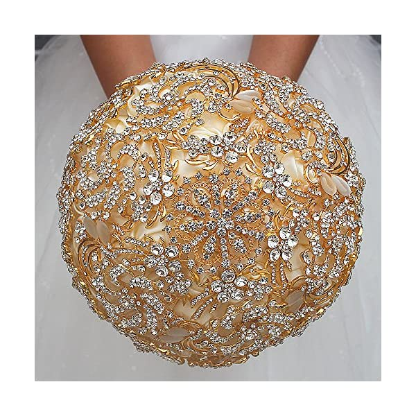 DOTKV Wedding Bouquet with Golden Luxury Artificial Diamond,Set Including Bouquets, Wrist Flowers,Corsage for Your Wedding with Full Hand-Made (Gold+Ivory)