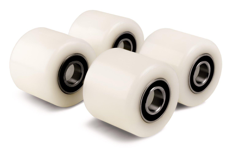 Juego de 4 rodillos para camión de palet (4 unidades, 70 mm de diámetro, 60 mm de ancho, rollo de nailon, rueda con rodamientos de bola, 20 mm, ...