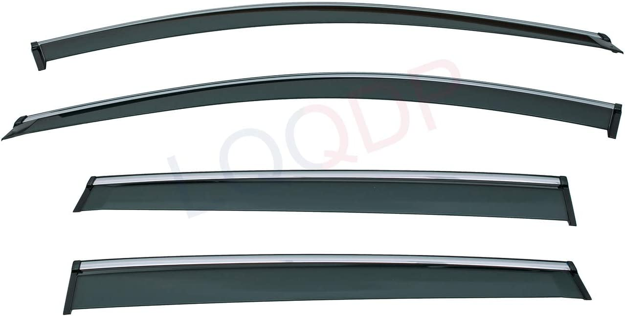 LQQDP Set of 4 Front+Rear Smoke Tint With Chrome Trim Sun//Rain Guard Outside Mount Tape-On PVC Window Visors For 13-19 Ford Escape