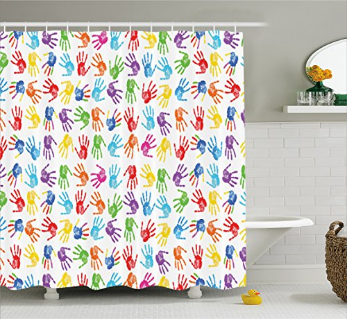 Colorful Decor Shower Curtain by Ambesonne, Human Handprint Kids Watercolor Paint Effect Open Palms Collage Art Work Print, Fabric Bathroom Decor Set with Hooks, 70 Inches, Multi