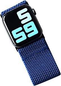 Tefeca Ultra Wide Patterned Elastic Compatible/Replacement Band for Apple Watch (Blue, M fits Wrist Size : 6.5-7.0 inch, 42/44mm)