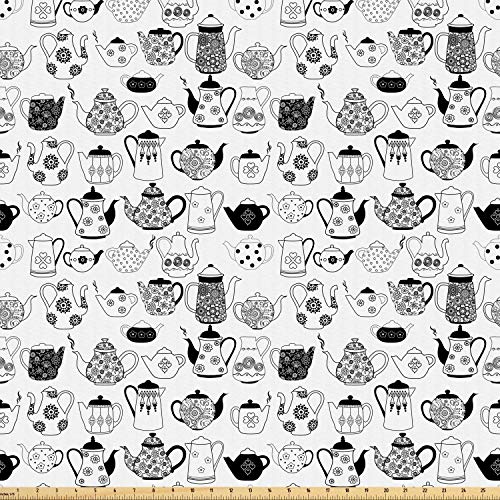 Ambesonne Tea Party Fabric by The Yard, Floral Patterned Cups with Different Designs Monochrome Timeless Kitchenware, Microfiber Fabric for Arts and Crafts Textiles & Decor, 1 Yard, Black White