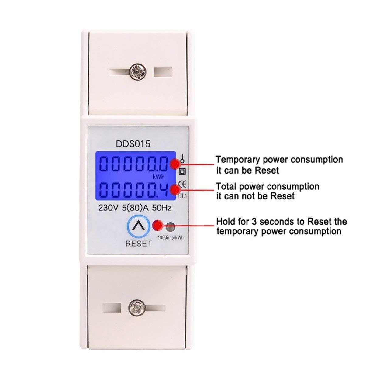 Lorenlli Fit Consommation /électrique du wattm/ètre monophas/é sur rail DIN 230V DDS015 Compteur d/énergie /électronique CA avec fonction de r/éinitialisation