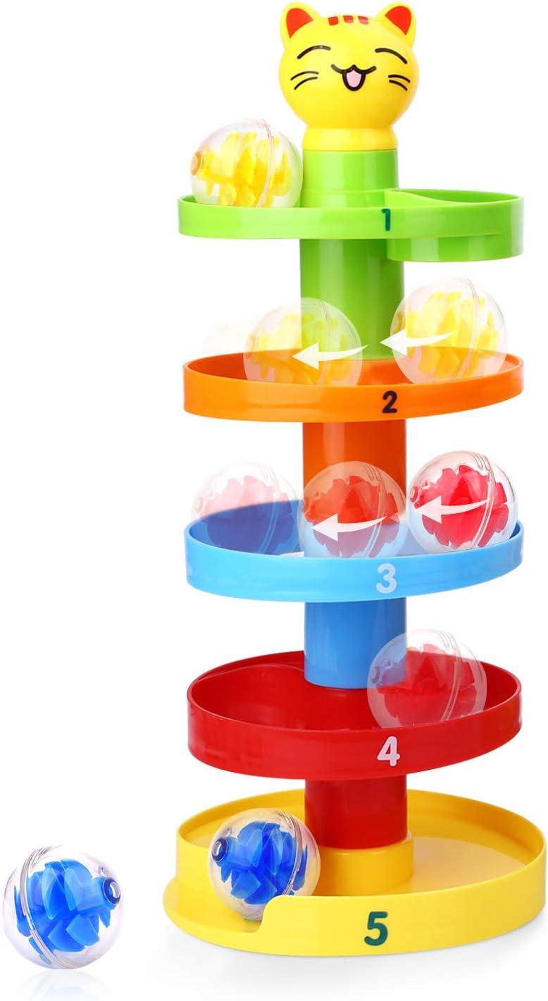 Peradix Juegos Educativos, Juguete de Torre Bolas con 5 Capas y 3 Bolas Rampa para Niño, Juegos Giratorio Ejecutar con Cartoon Gato para Bebés