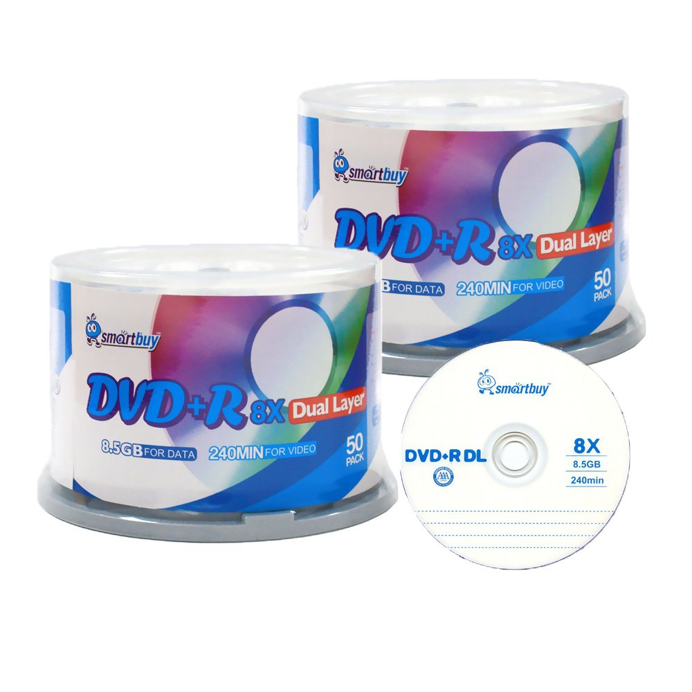 Smartbuy 8.5gb/240min 8x DVD+R DL Dual Layer Double Layer Logo Blank Media Disc Spindle (100-Disc) by Smartbuy
