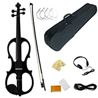 Electric Violin 4/4, Wood Full Size Musical Instrument with Rosin Headphone, Bow, Rosin, Extra Strings Kits, Gifts for Beginner Student (black)