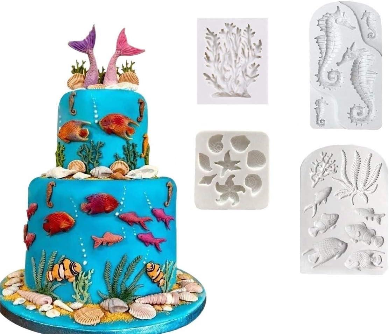 Joinor Marine Theme Silicone Fondant Mold, Seaweed, Coral, Fish DIY Handmade Baking Mold Mermaid Theme Cake Decorating Sugarcraft Mold