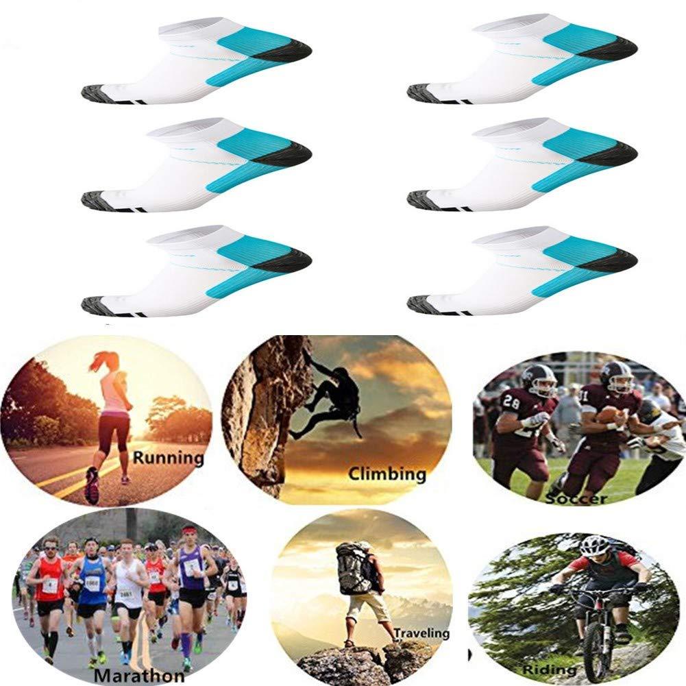 6 Pairs Medical&Althetic Compression Socks for Men Women, 15-20 mmHg Nursing Plantar Fasciitis Arch Support,Compression Ankle Socks for Running Marathon Travel Flight (6Pair White Blue)