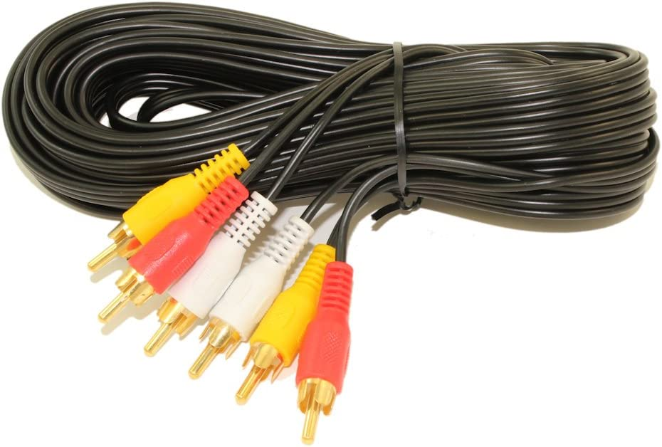 MyCableMart 25ft 3 Wire RCA General Duty Composite Video with Audio Gold Plated Cables