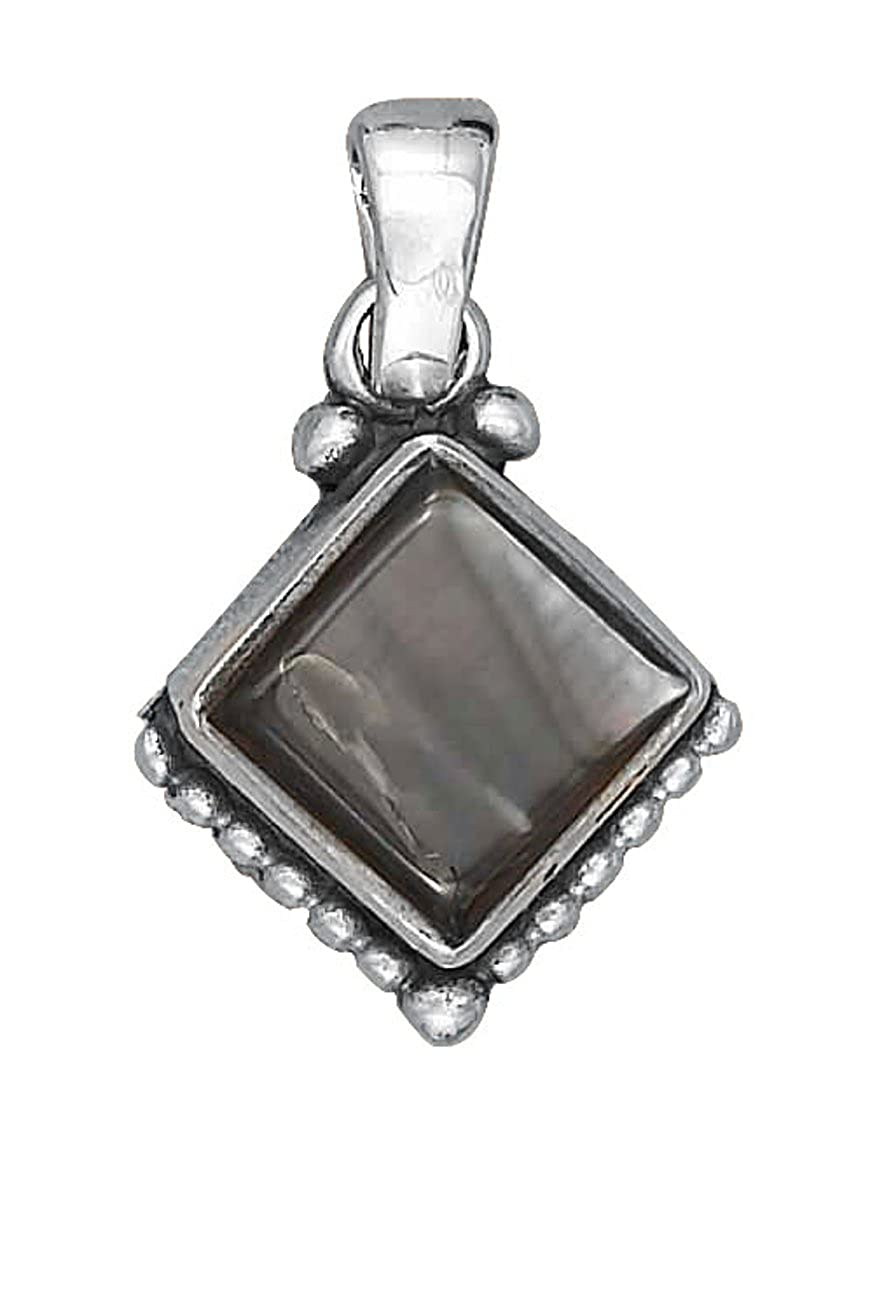 Sterling Silver Girls .8mm Box Chain Tipped Gray Shell Square Pendant Necklace Beaded Bottom