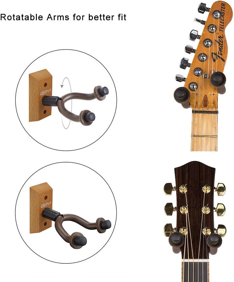 GIM - Juego de 2 perchas de madera para guitarra, soporte de pared ...
