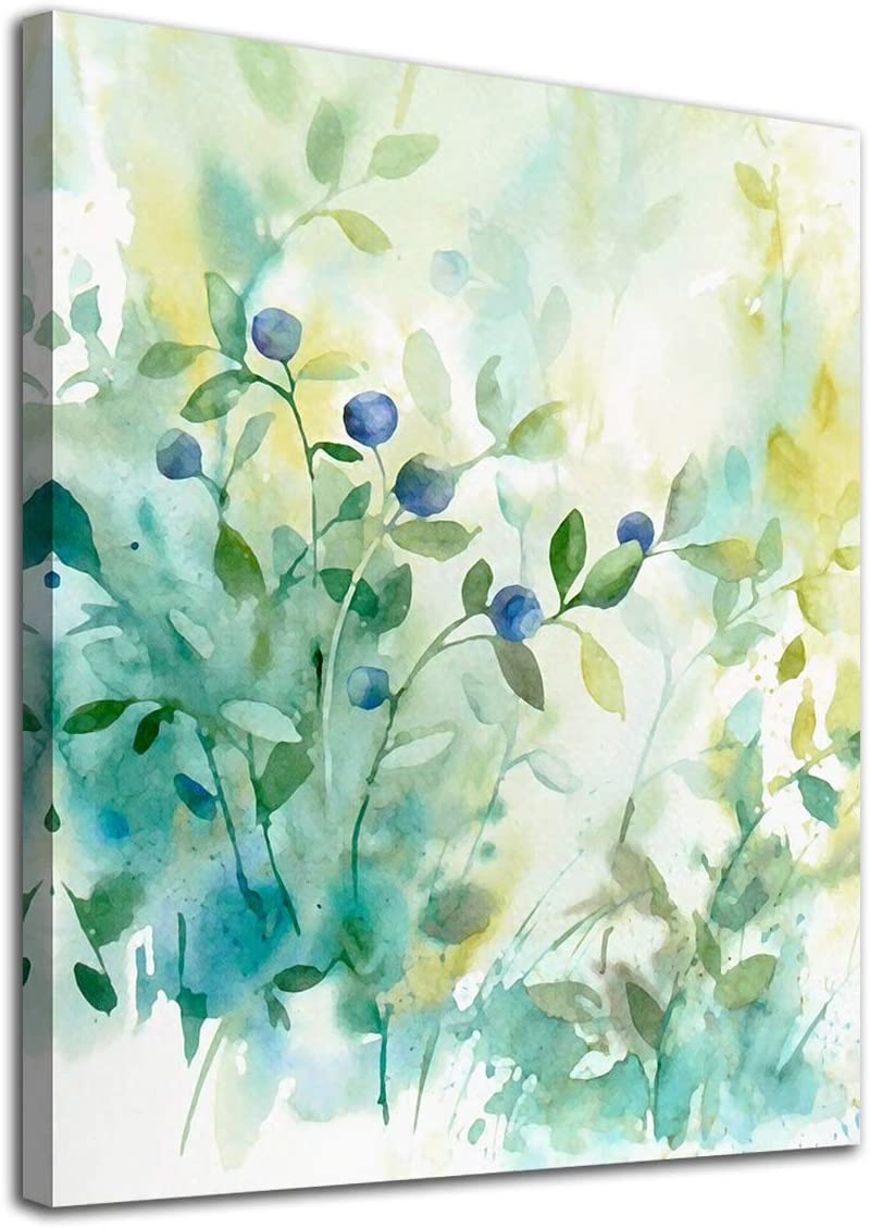 """Botanic Wall Art Watercolor Green Leaf Canvas Picture Plants Light Colour Modern Artwork Contemporary Art Print Framed for Bathroom Bedroom Nursery Living Room Home Office Kitchen Wall Decor 12"""" x 16"""""""