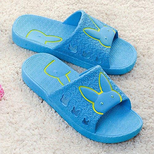 Angelliu Mujeres Niñas Summer Candy Color Animal Rabbit Non-skidding Bath Zapatillas De Interior Azul