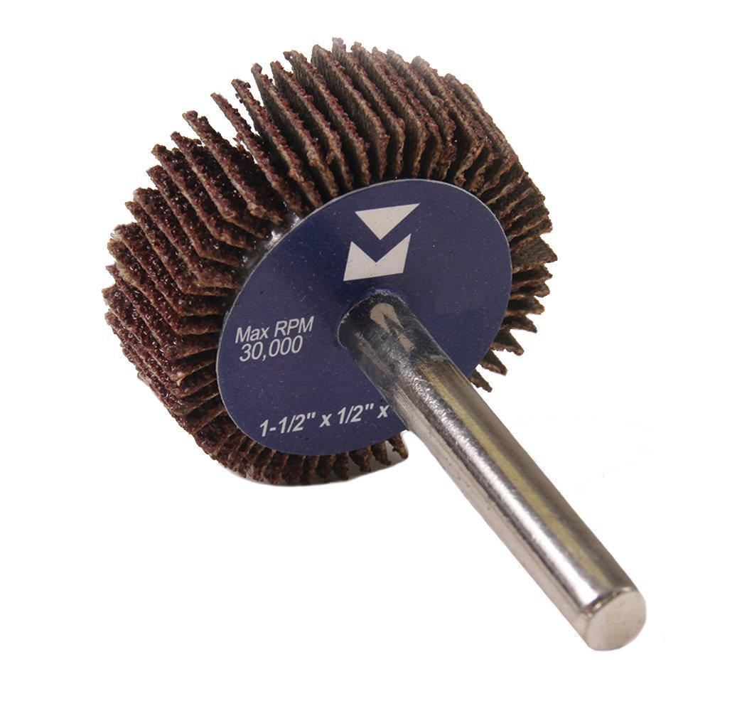 Mercer Industries 361080 Mounted Flap Wheel, 1-1/2'' x 1/2'' x 1/4'', Grit 80, 20-Pack