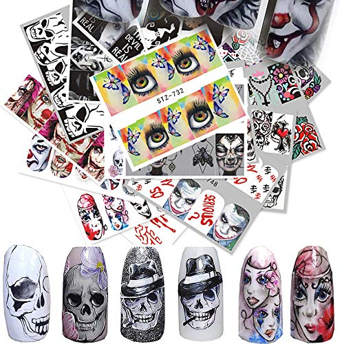 Jurxy 25 PCS Watermark Nail Sticker Water Transfer Stickers Decals Applique Watermark DIY Salon Usage Decoration Tools - Halloween Skull Clown Ghost