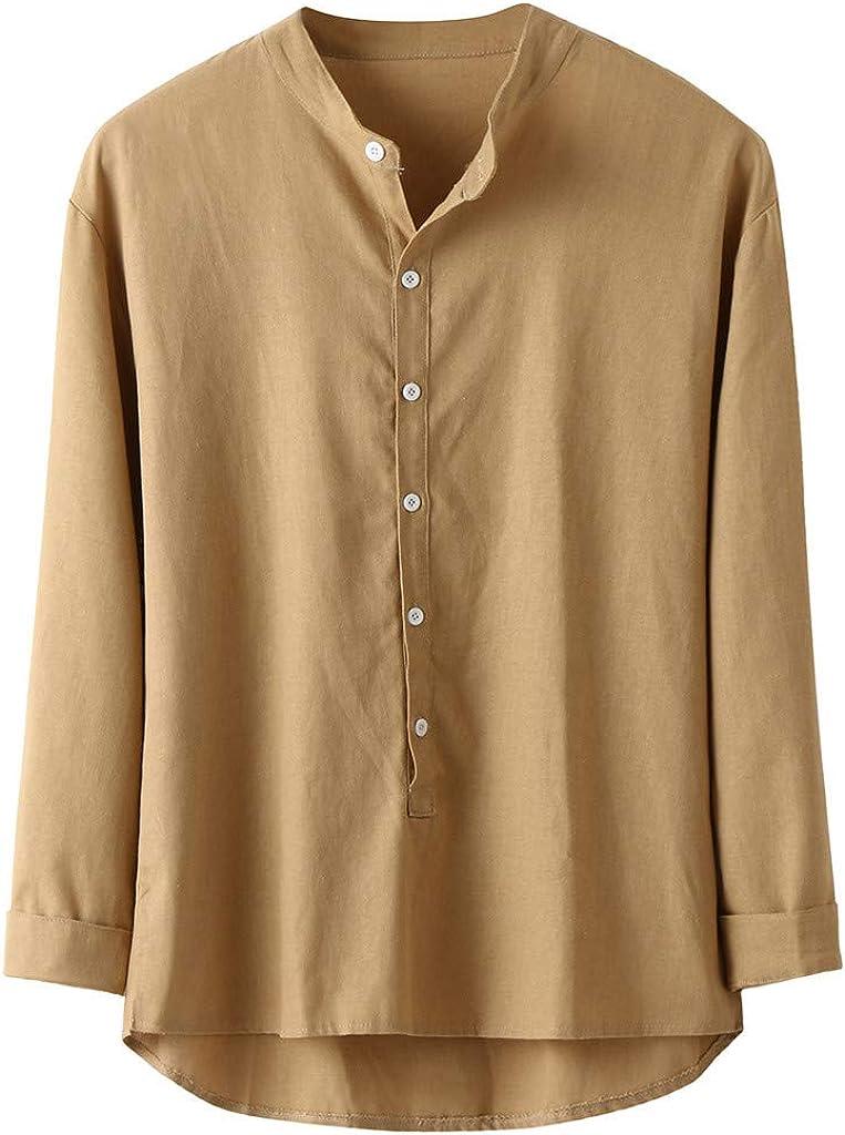 ZODOF Camisas Hombre Otoño Invierno Botón Casual Lino y Algodón Manga Larga Tops Blusa Camisas Hombre Verano(S, Amarillo): Amazon.es: Ropa y accesorios