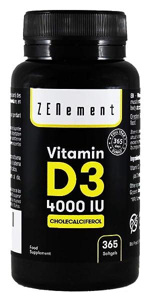 Vitamina D3 4000 UI, 365 Cápsulas, 1 Año de suministro | Sin Gluten, No-GMO, GMP, sin aditivos | de Zenement