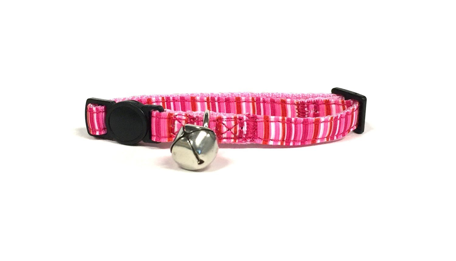 Midlee Pink Stripe Cat Collar Set with Breakaway Buckle by