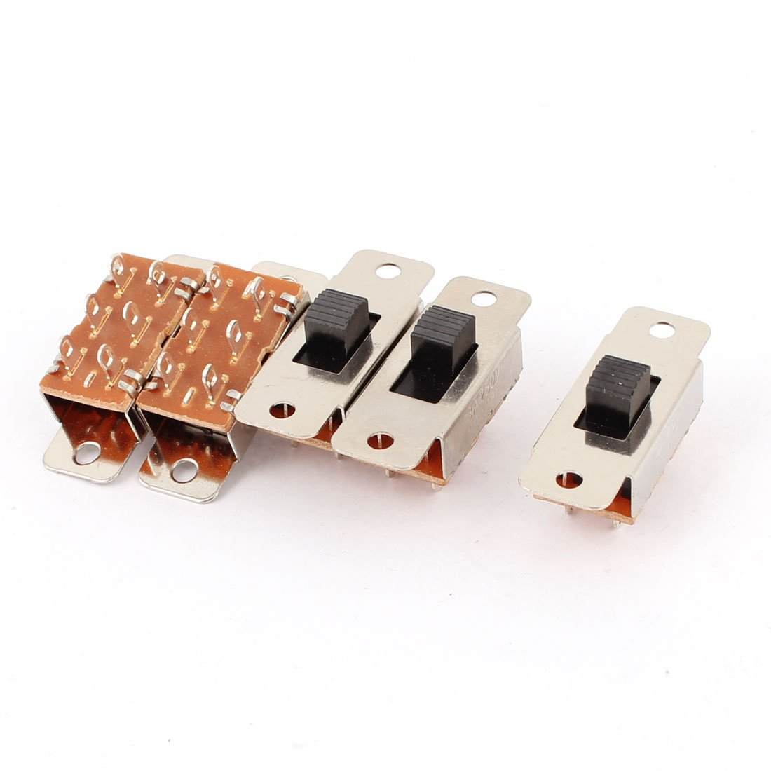 5pcs Pcb Diy Dpdt 3 Position Mini Slide Switch Ac 250v 3a 125v 6a Lot Push Button Off On 1 Circuit Non Locking Tools