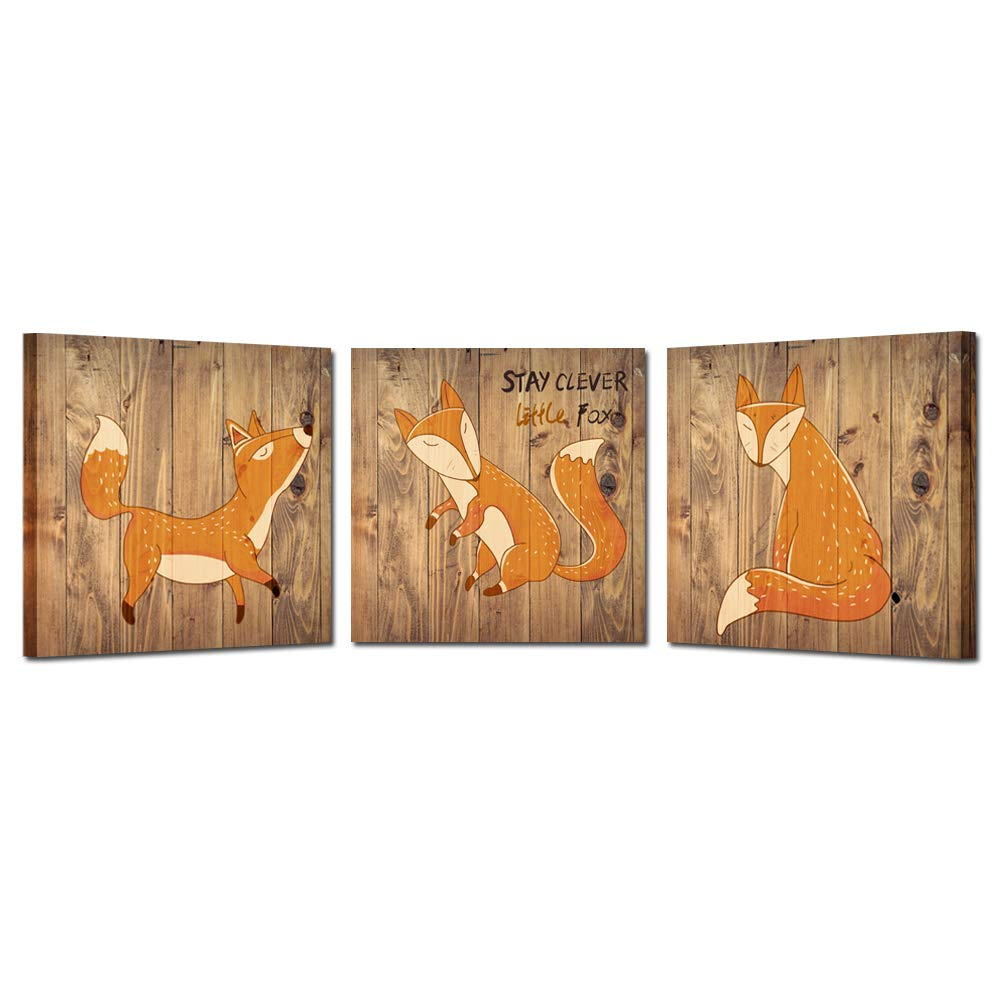 Kreative Arts Rustic Canvas Wall Art Stay Clever Little Fox Quote Giclee Print Nursery Animals Prints Set of 3 Modern Home Decor Stretched Gallery Wrap Ready to Hang (16x16inchx3pcs)