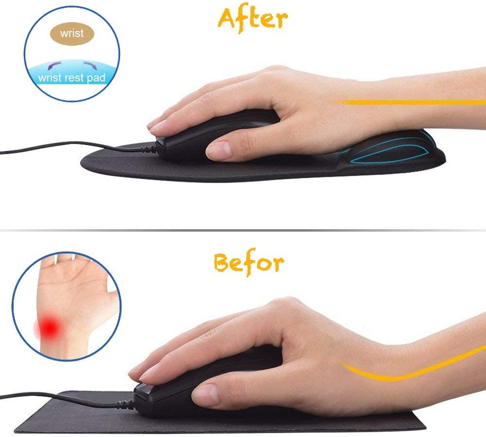 Gary Office /& Travel Mousepad with Non-Slip PU Base Mouse Mat for Home Mouse Pad with Gel Wrist Rest