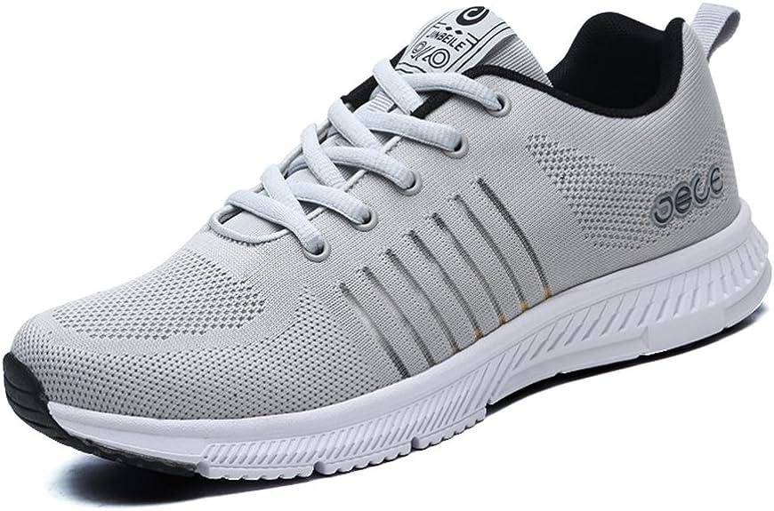 Zapatillas deportivas de hombre sneakers running calzado deportivo tenis Antideslizante a prueba de golpes Gris claro 44(Recomendar tamaño uno más): Amazon.es: Zapatos y complementos
