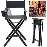 tinkertonk Heavy Duty Folding Telescope Makeup Telescopic Artist Director Chair Wood Foldable with side bags