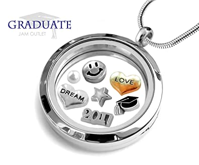 Amazon 2017 graduation memory locket pendant set graduate 2017 graduation memory locket pendant set graduate floating charms sterling plated necklace gift aloadofball Gallery
