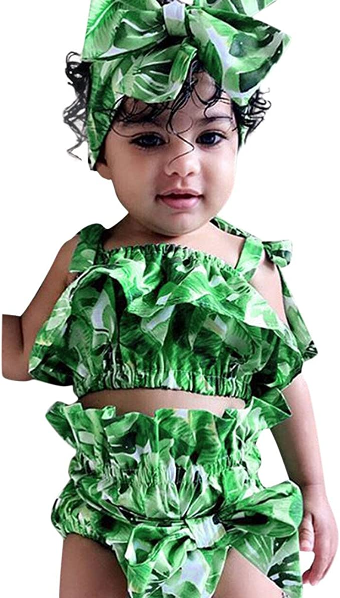 Briefs Shorts XUANOU Baby Sleeveless Sling Leaf Print Top Hair Strap 3PC Set Infant Girls Sun-Top Headbands Outfits