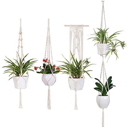 Handmade Indoor Wall Hanging Planter Plant Holder 4 Pack Macrame Plant Hangers In Different Designs Modern Boho Home Decor In Many Styles
