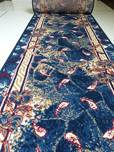 Velours Läufer nach Maß Blau Meterware lfm. 9,90 Euro Breite 60 x 320 cm