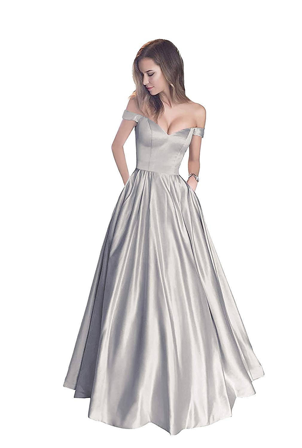 Silver Without Belt Liaoye Women's Off Shoulder Beaded Satin Evening Prom Dress Long V Neck Formal Party Gowns with Pocket
