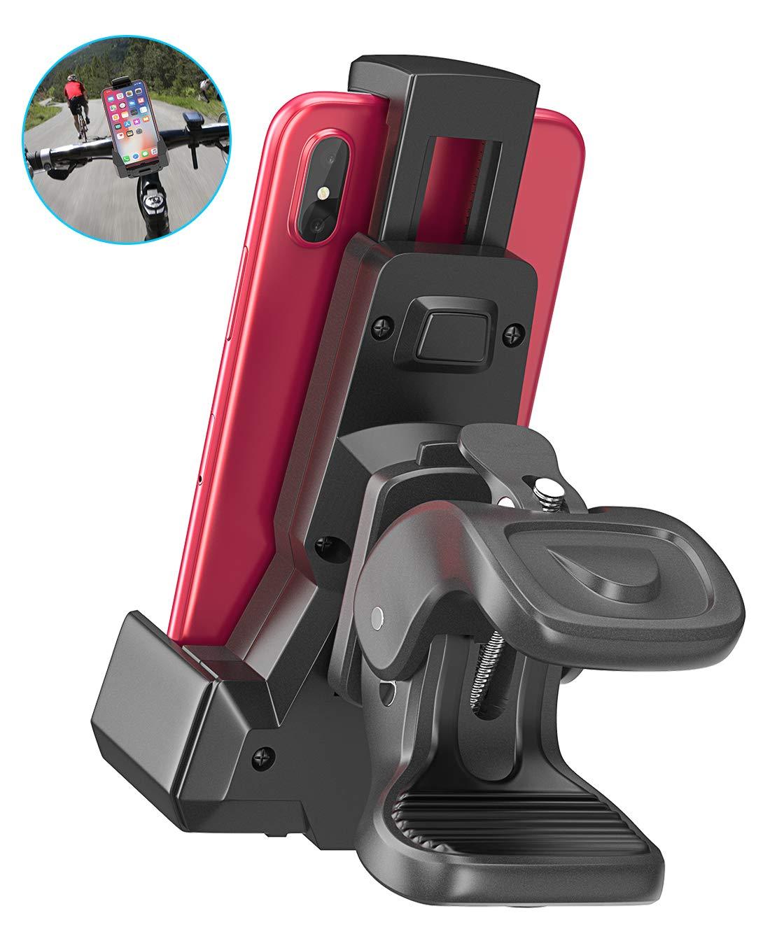 Cocoda Support Téléphone Vélo, Porte Téléphone Vélo/Moto Bras Triangulaires Rotation à 360° Universel Anti-Vibrations Réglable Appareils 4,7-6,5 Pouces