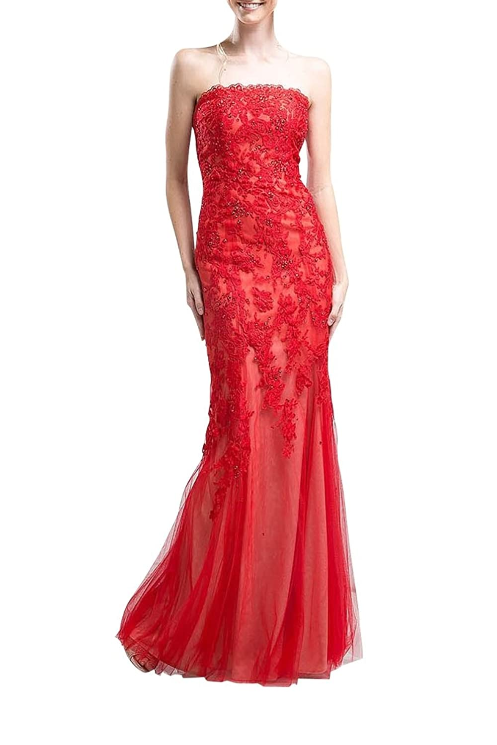 Charm Bridal Long Red Appliqued Strapless Women Wedding Dress for Bride