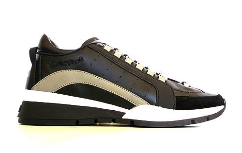 DSQUARED - Zapatillas de Cuero para Hombre Negro Nero Grigio: Amazon.es: Zapatos y complementos