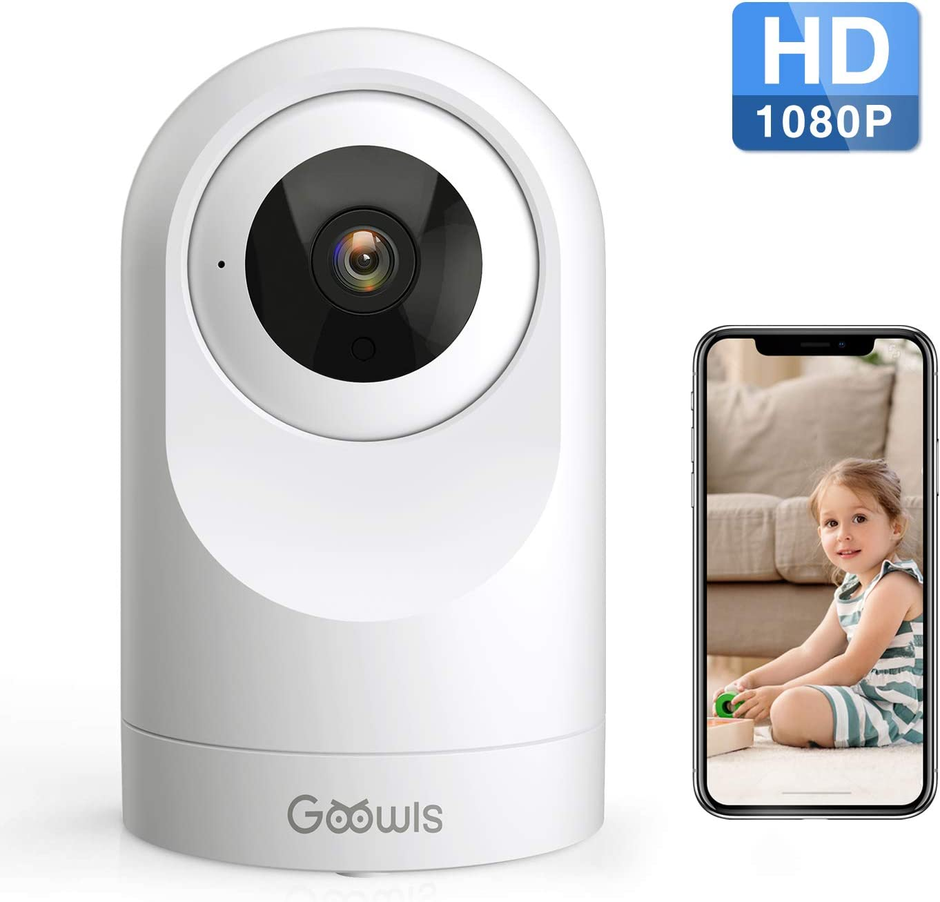 WiFi Camera Indoor, Goowls 1080P HD Home Camera Wireless Security Camera for Baby/Pet/Nanny Monitor Pan/Tilt Night Vision Motion Detection Two-Way Audio Compatible with Alexa Cloud Service