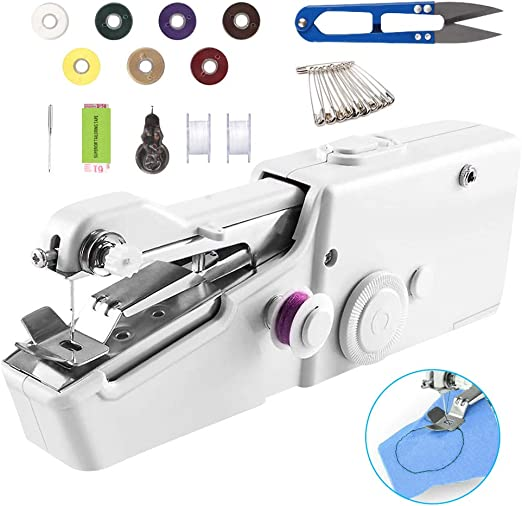 Mini Cordless Quick Stitch Battery-Operated Sewing Tool with Extra Bobbin /& Needle /& Threader for Fabric Kids Cloth Clothing Home Travel Use Portable Handheld Sewing Machine