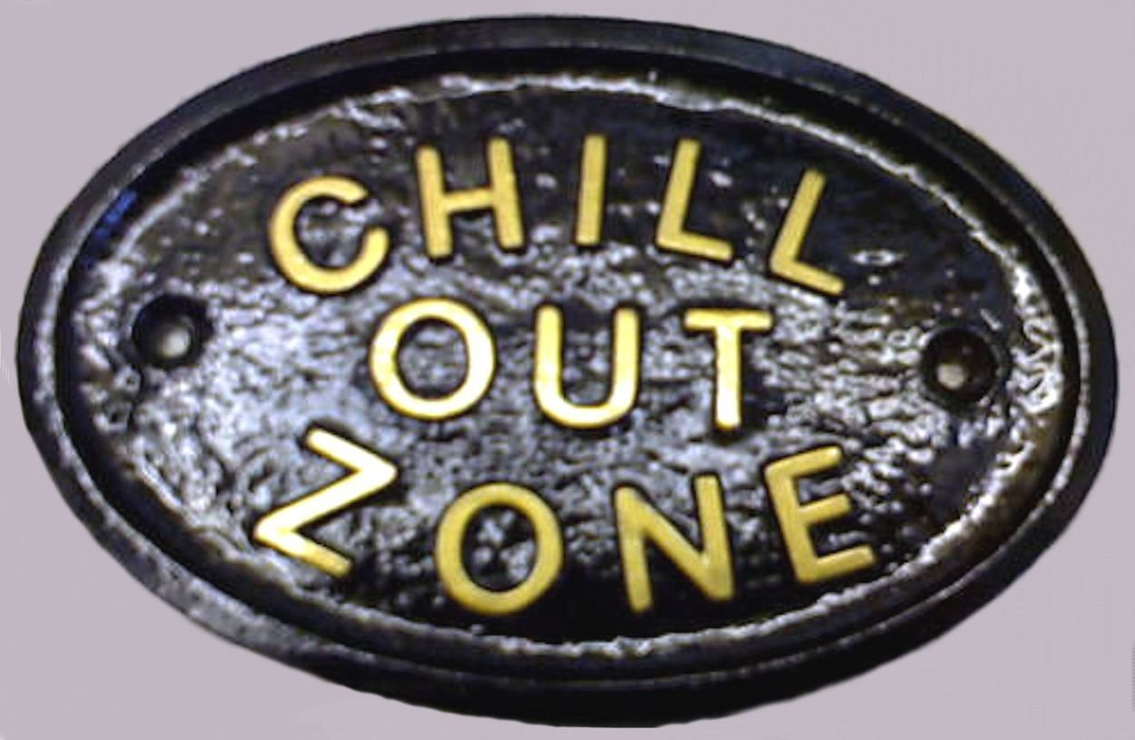 """""""Chill OUT zone"""" diseño cilíndrico/con texto en inglés de invernadero/diseño con texto en inglés en negro con dorado en relieve diseño con texto en inglés"""